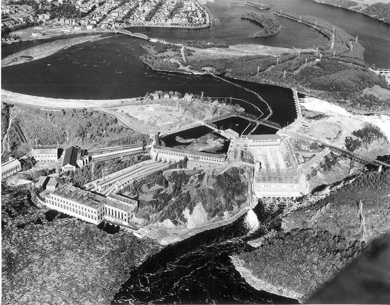 A rare photo of all three generating stations near the falls in Shawinigan