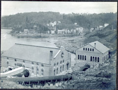 View of the Shawinigan-1 and N.A.C. generating stations and their penstocks