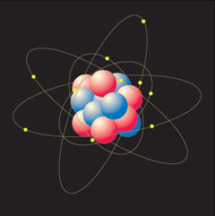 Picture of electrons gravitating around the nucleus of an atom