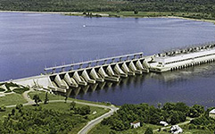 Aerial photo of the Carillon generating station on the Outaouais River