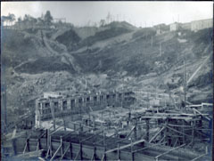 Workers building the foundations of the Shawinigan-1 generating station