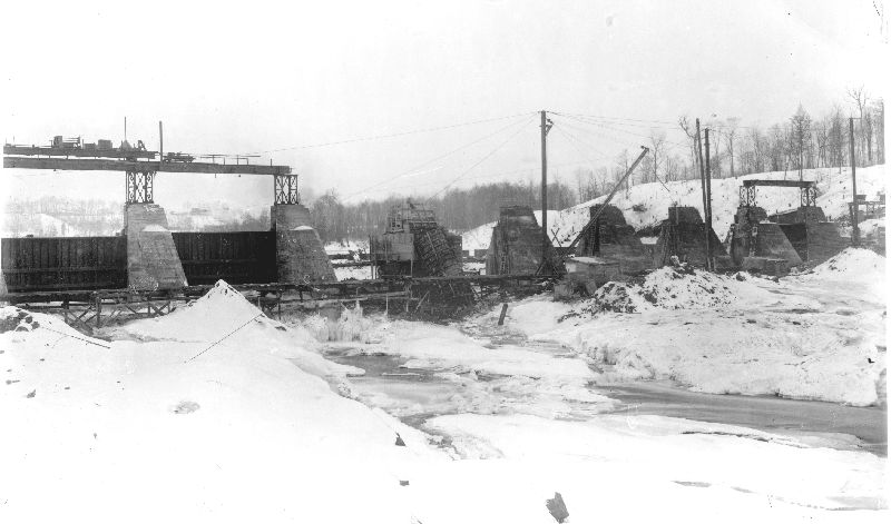 December 1912, work continues on the Melville spillway