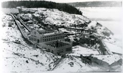 Winter view of the construction site of the Shawinigan-1 and N.A.C. generating stations