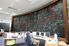 Employees monitoring different measurement instruments on the control panel at a network control centre